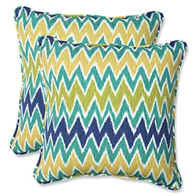 Pillow Perfect Outdoor Zulu Throw Pillow, 18.5-Inch, Blue/Green, Set of 2 - Includes two outdoor pillows, resists weather and fading in sunlight; Suitable for indoor and outdoor use. New and improved 100-percent virgin polyester fiber filling offers an even cushier feel with greater durability Edges of outdoor pillows are trimmed with matching fabric and cord to sit perfectly on your outdoor patio furniture - patio, outdoor-throw-pillows, outdoor-decor - 61DthoZfWRL. SS400  -
