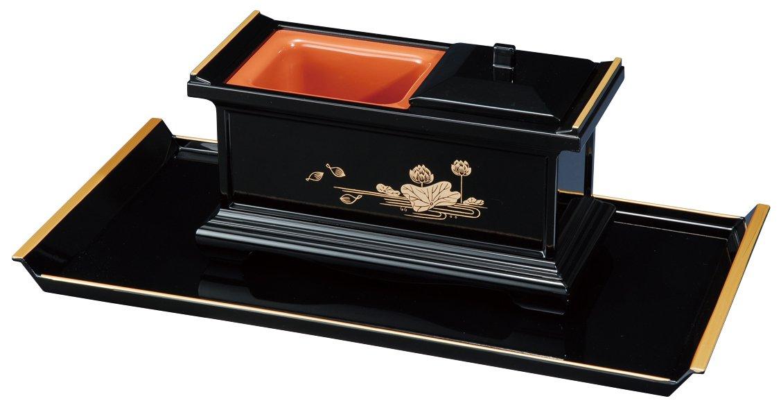 焼香盆セット 7.0寸 黒(フチ金) 蓮 大 4720002 B00E37Z2AE