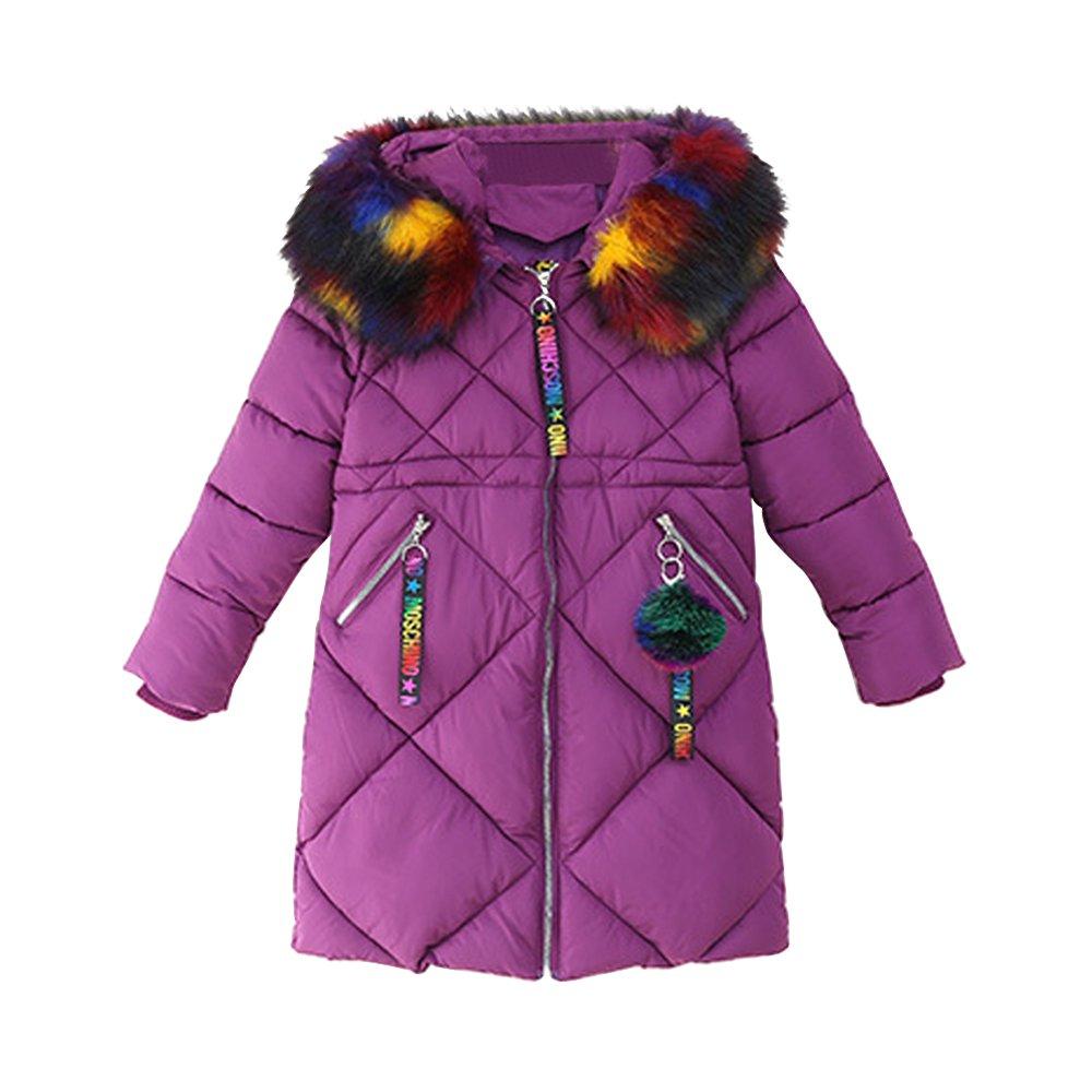 OCHENTA Girls' Puffer Down Coat Winter Jacket Faux Fur Trim Hood