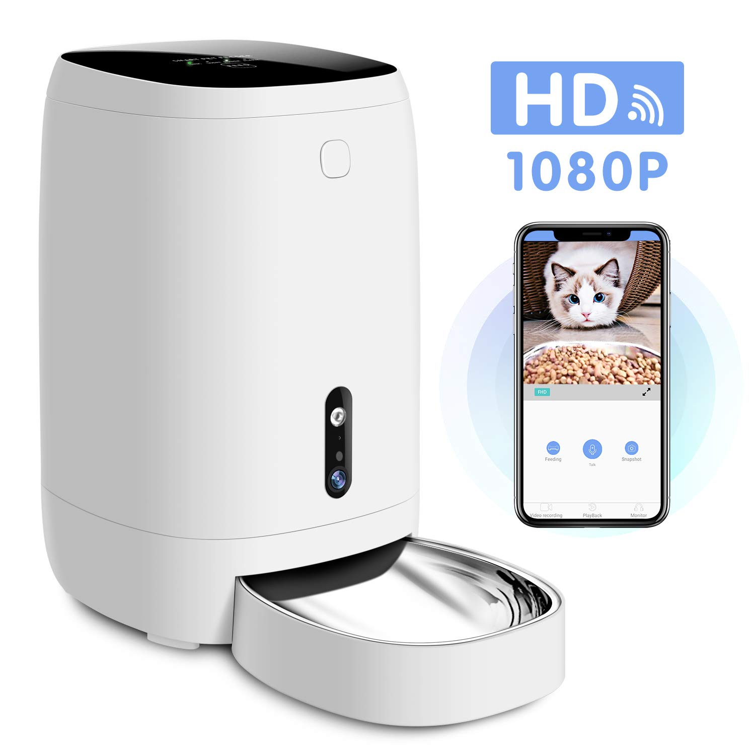 Uterip Smart Automatic Pet Feeder, 4L Pet Food Dispenser Auto Feeder for Dogs, Cats & Small Animals, HD Camera for Video and Audio Communication, Wi-Fi Enabled App for iOS and Android by Uterip