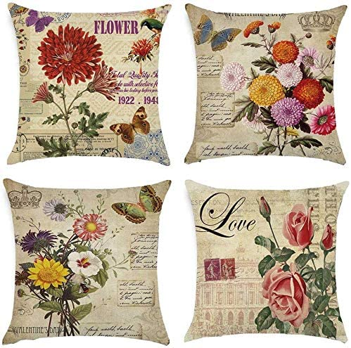 MMSD Pack of 4 Retro Pillow Covers 18x18 Inches, Vintage ...