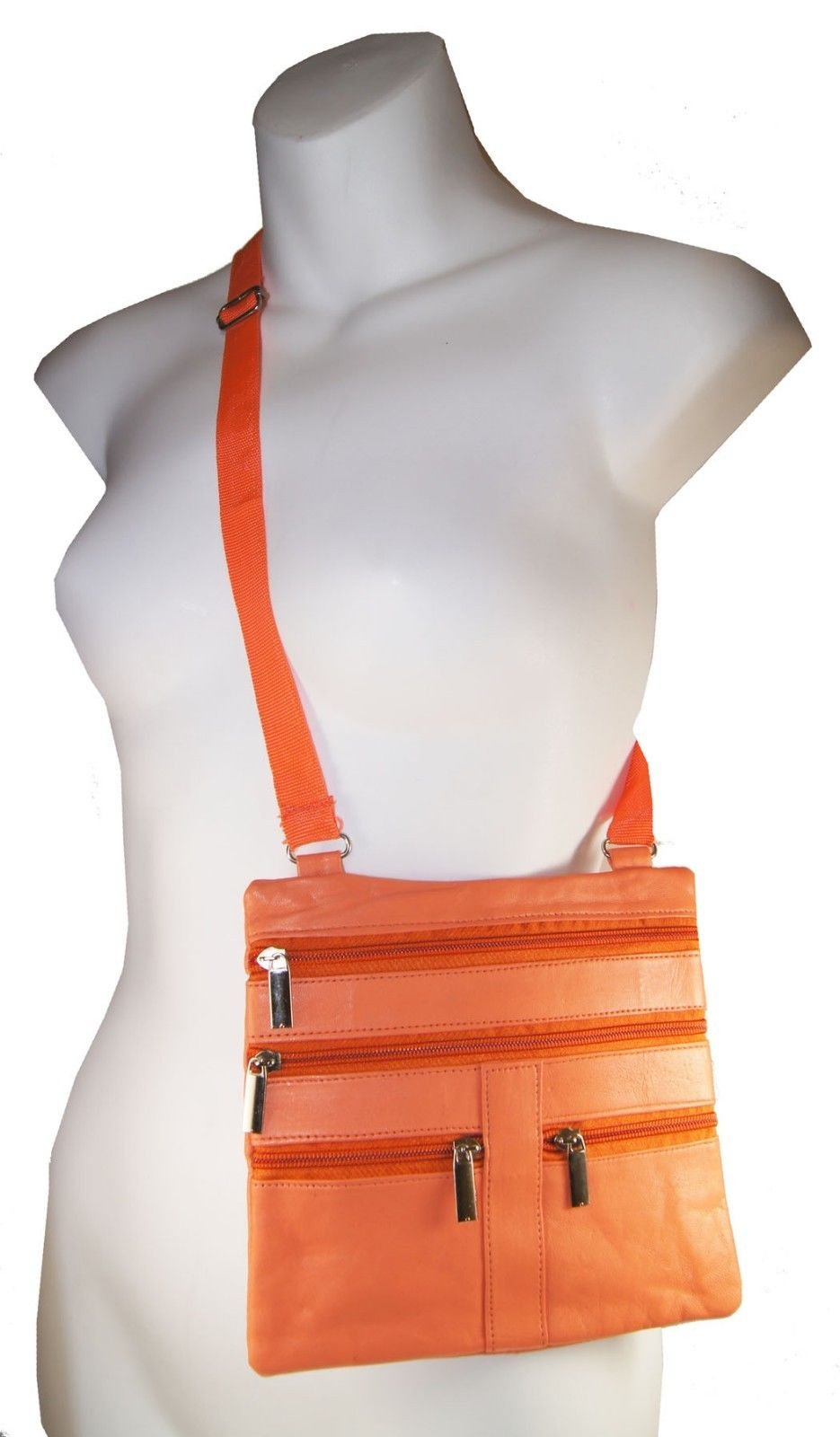 Orange Ladies Genuine Leather Cross Body Bag Satchel Messenger Bag 48'' Strap by Wallet (Image #1)