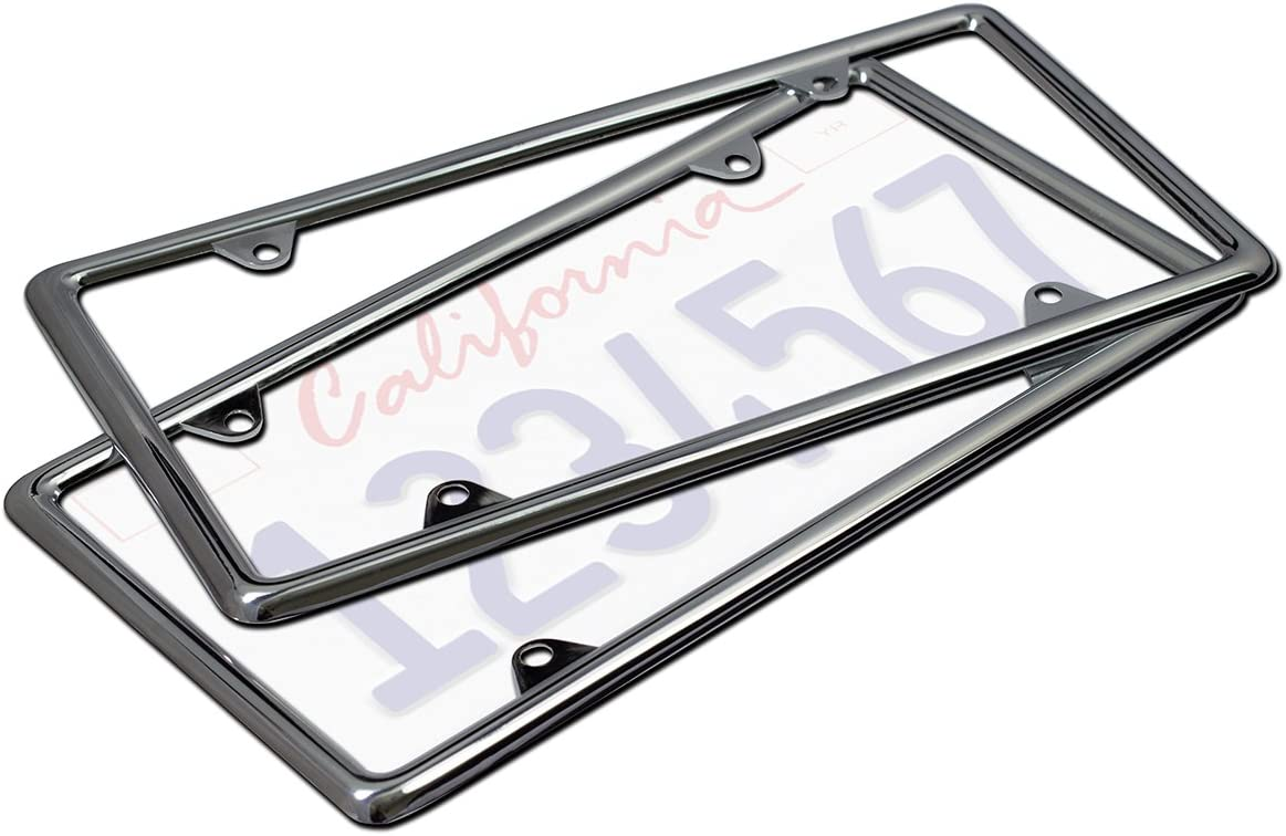 Motorup America Auto License Plate Frame Cover 2-Pack - Fits Select Vehicles Car Truck Van SUV - Zinc
