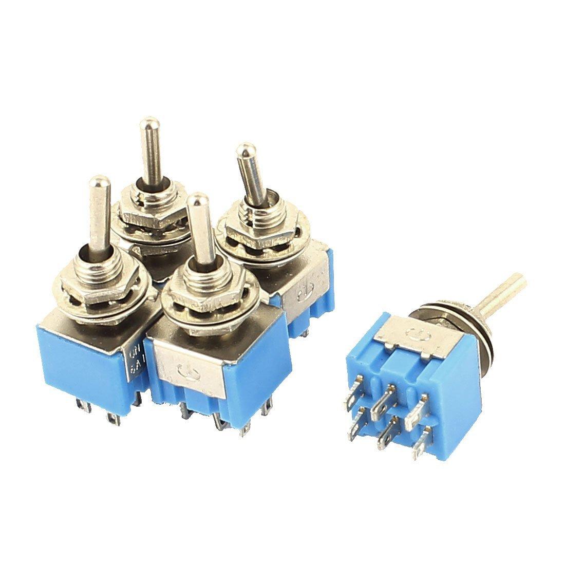sourcingmap® 5PCS 3 position ON/OFF/ON DPDT Mini interrupteur bascule bistable bleu AC 125V 6A sourcing map a15091400ux0824