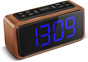 Radio Alarm Clock, Large LED Display Wood Digital FM Alarm Clock, Adjustable Brightness Dimmer and Snooze, Simple LED Clock with Dual Alarm, 12/24 Hour, Powered by AC Adapter (Blue)