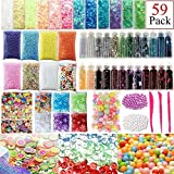 PiXiu-XP Slime Supplies Kit, 59 Pack Slime Beads Charms Include Foam Balls, Fishbowl Beads, Glitter Jars, Fruit Animal Smiley Slices, Pearls, Colorful Sugar Paper Accessories, Slime Tools for Homemade