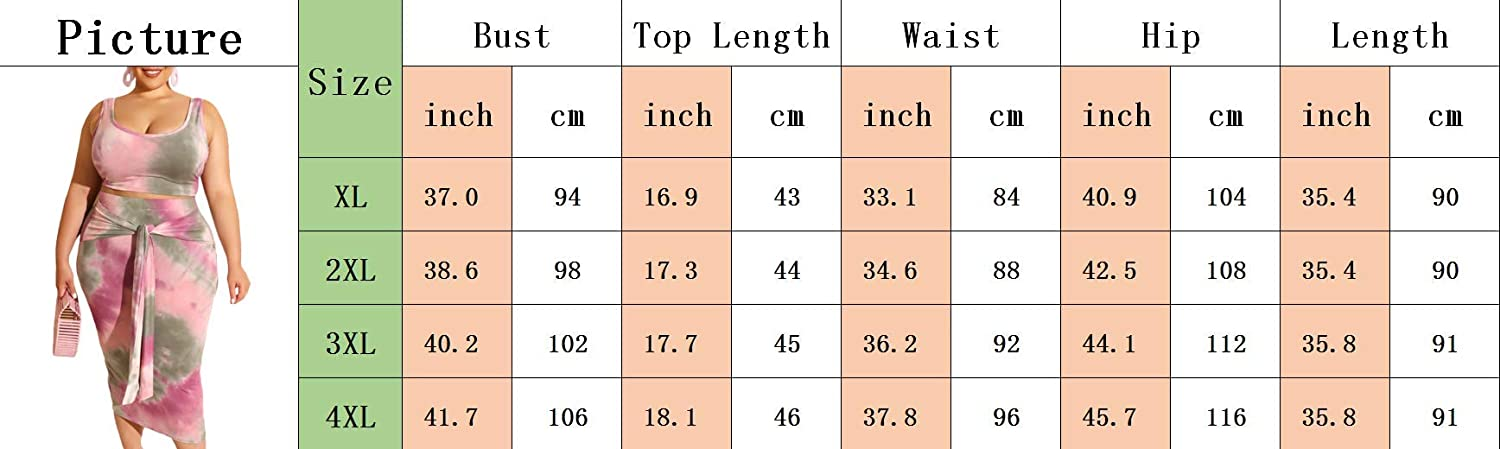 xxxiticat Womens Plus Size Tie Dye Print Two Piece Outfits Sleeveless Bodycon Floral 2PCs Tank Crop Top and Skirts Sets