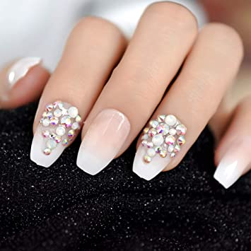 EchiQ 3D Bling Glitter Pink Nude French Ballerina Coffin False uñas ...