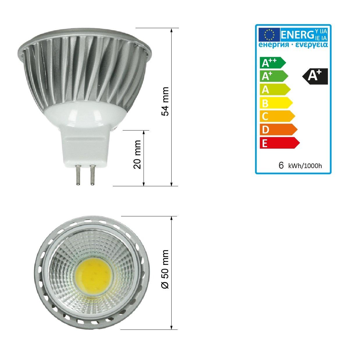 ECD Germany 4 x MR16 COB spot 6W Lampe /à /économie d/énergie haute puissance denviron 378 lumens remplace 45W Lampe halog/ène angle de 60 degr/és Blanc froid 6000K