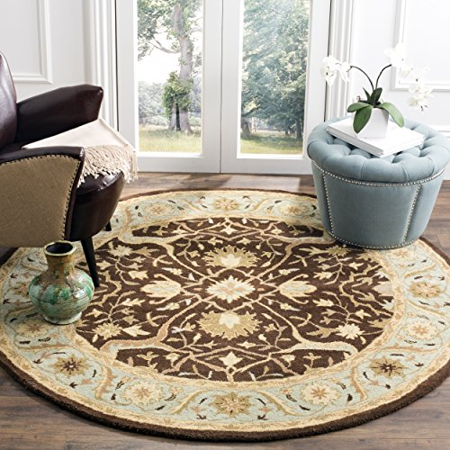 Round Rug Brown Oriental (Safavieh Antiquities Collection AT14F Handmade Traditional Oriental Brown and Green Wool Round Area Rug (6' Diameter))
