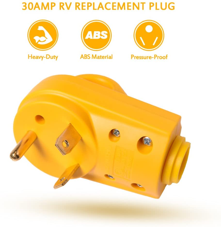 Snowy Fox RV 30 Amp Female Replacement Plug Heavy Duty 30 Amp RV Plug Receptacle with Ergonomic Grip HandleDesigned to Accommodate Wire