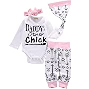 Emmababy Newborn Girls Clothes Baby Romper Outfit Pants Set Long Sleeve Winter Clothing(0-6 Months, White)