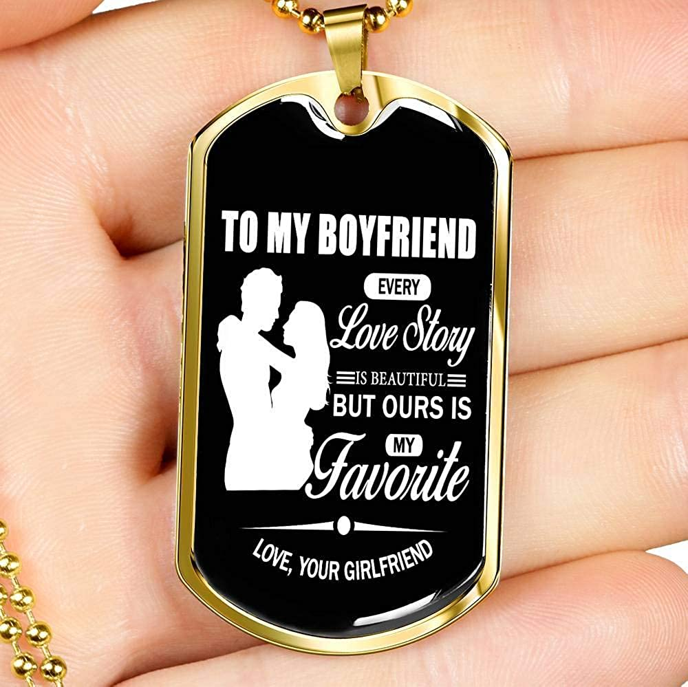 Girlfriend Boyfriend Gifts Every Love Story is Beautiful Necklace Dog Tag Military Stainless Steel Gold for Your Man Xmas Birthday Gag Gifts for Men