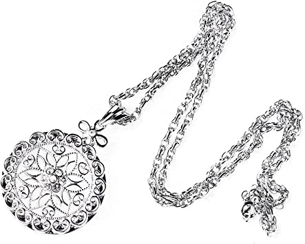 Magnifier Necklace Vintage Silver Tone Black Onxy Accent Magnifing Glass Necklace