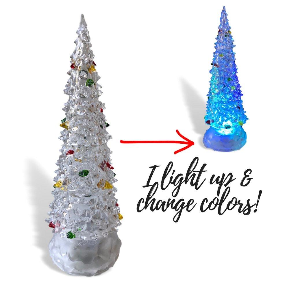 Amazon.com: Acrylic Light Up Christmas Trees - Set of 2 Assorted ...