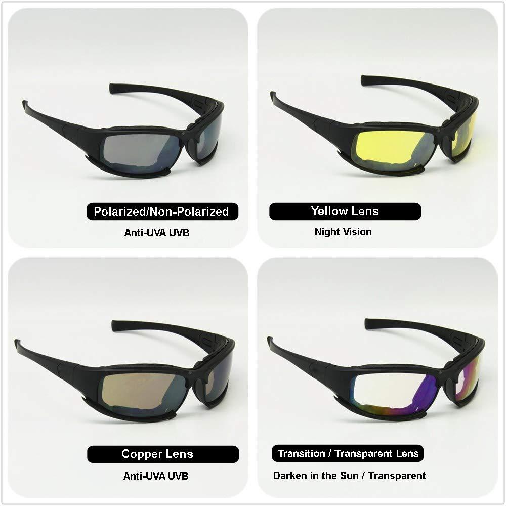 07123a3052 EnzoDate Daisy X7 polarizado ejército Gafas de Sol, Gafas Militares 4 Lente  Kit, Hombres Juego de Guerra táctica Gafas al Aire Libre (Negro, ...