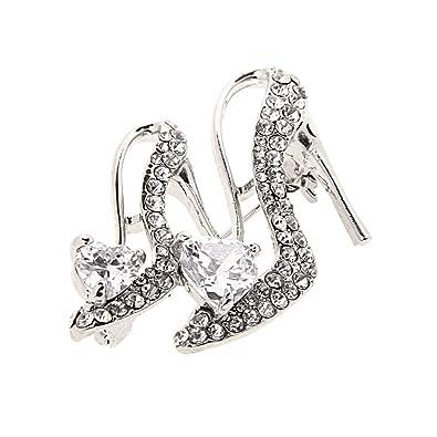 Broche Pin de Mujer Damas Forma de Zapatos de Tacón Alto Cristal Diamante de Imitación - 2 GM2VJoCF