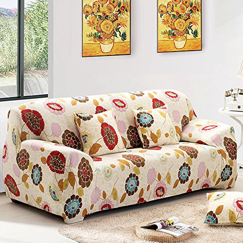 yazi Sunflower Washable Elastic Sofa Cover 1/2/3 Seater Couch Stretch Sette Slipcover, Two Seater