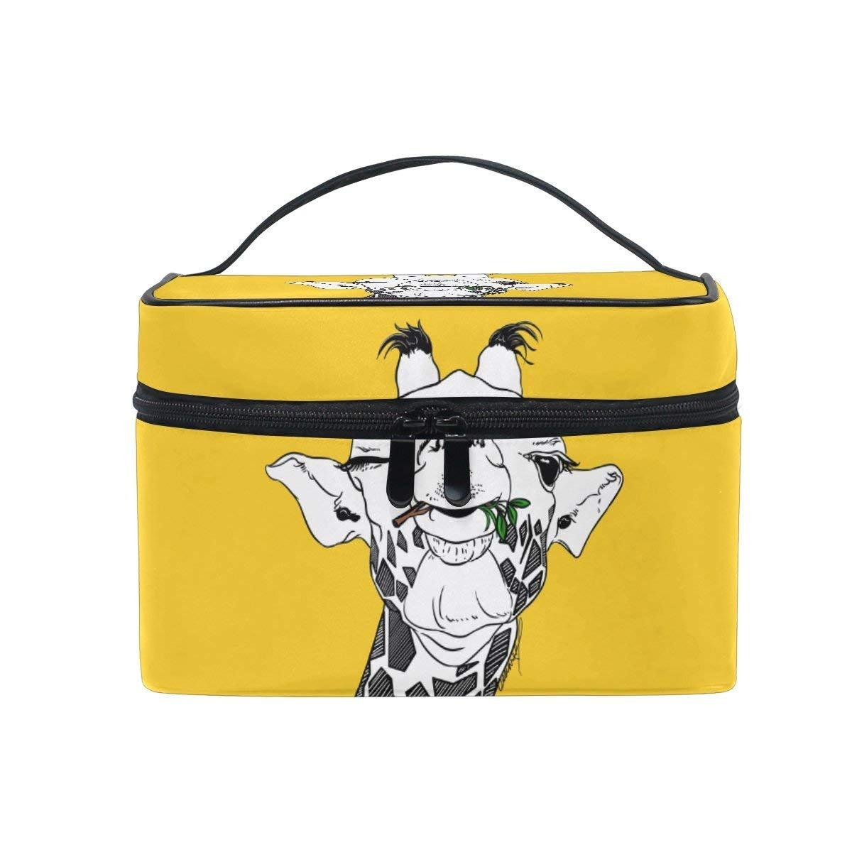 Beauty Makeup Train Case Cute Yellow Eating Giraffe Wink Korean Carrying Portable Zip Travel Cosmetic Brush Bag Organizer Large for Girls Women