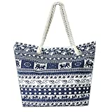 Nawoshow Canvas Fabric Elephant Pattern Beach Bag Rope Handle Tote Bag Handbag For Women (Elephant A)