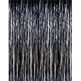3 x 8 Black Tinsel Foil Fringe Door Window Curtain Party Decoration