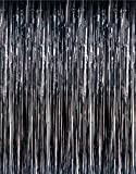 1 X 3' x 8' Black Tinsel Foil Fringe Door Window Curtain Party Decoration (Kitchen)