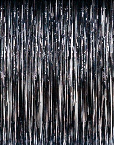 1 X 3' x 8' Black Tinsel Foil Fringe Door Window Curtain Party (Halloween Door Curtain)