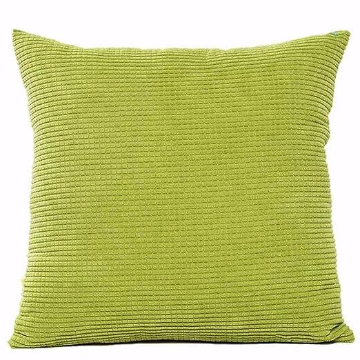 Aiserkly - Funda de Almohada para sofá, Cuadrada, Lisa, 45 x 45 cm, Pana, Verde, 45cm*45cm/18 * 18