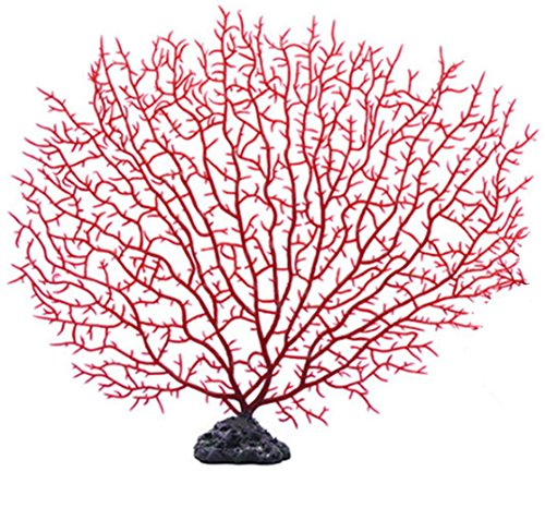 FMJI Aquarium Artificial Coral, Artificial Plastic Plant Fish Tank Coral Tree Plastic Aquarium Underwater Decoration (Large, Red)
