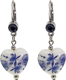 product image for 1928 Jewelry Silver Tone Blue Czech Crystal And Blue Willow Heart Lever Back Drop Earrings