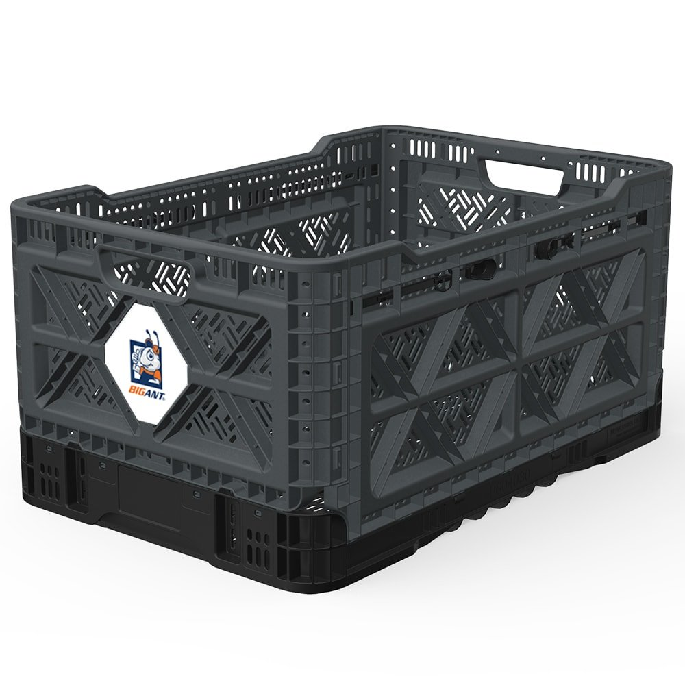 BIGANT Heavy Duty Collapsible & Stackable Plastic Milk Crate - IP543630, 12.7 Gallons, Medium Size, Charc.Gray, Set of 1, Absolute Snap Lock Foldable Industrial Storage Bin Container Utility Basket by BIGANT