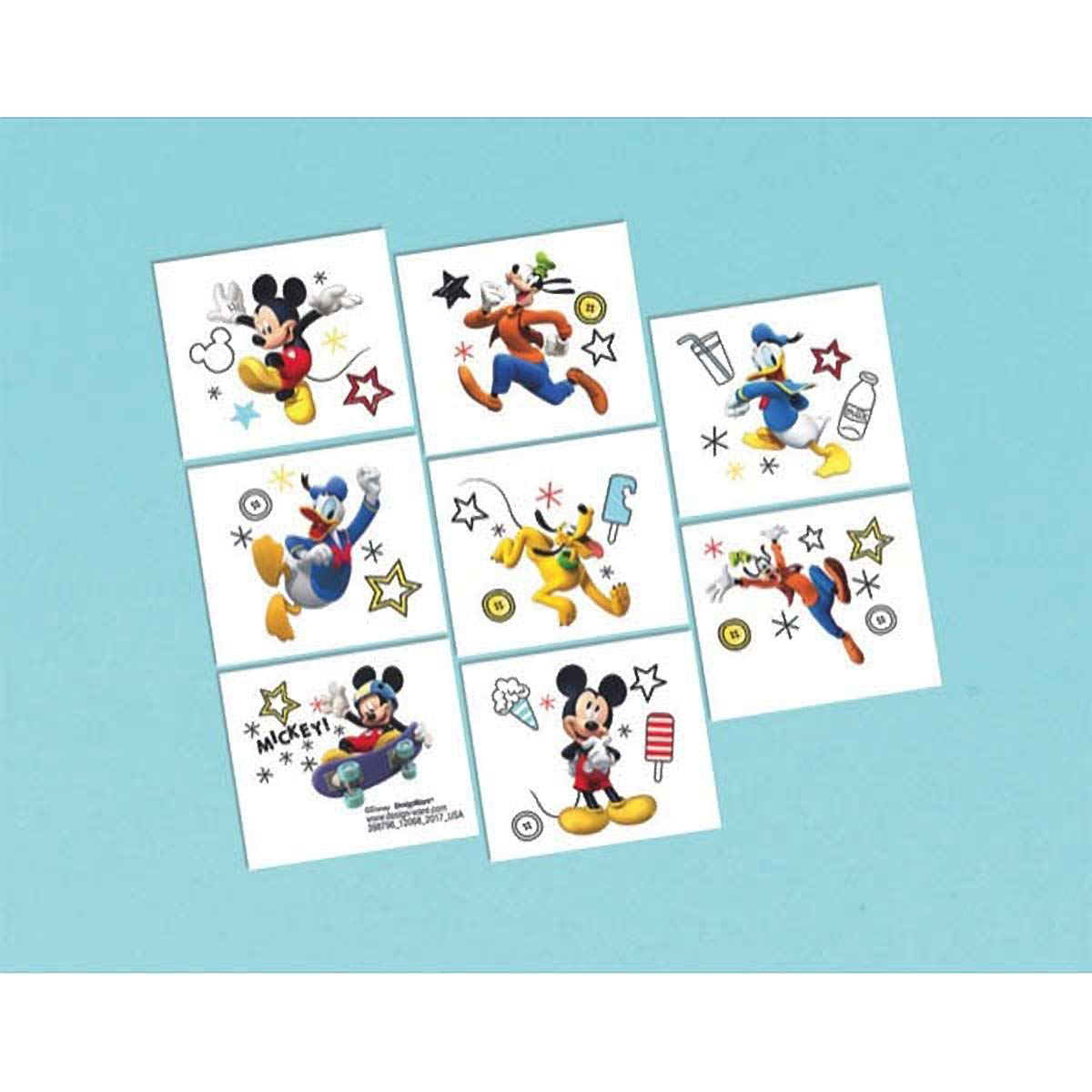 Disney Mickey Mouse Birthday Party Temporary Tattoos Favour Pack Of 16 Multi 2 X 2 Paper