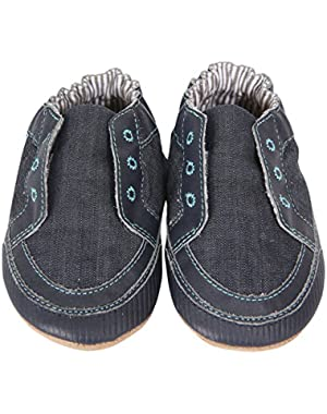 Newborn Baby Shoes Slip-On Sneakers For Boys Canvas Sneakers Soft Sole Crib Shoes Lace-Less Shoe