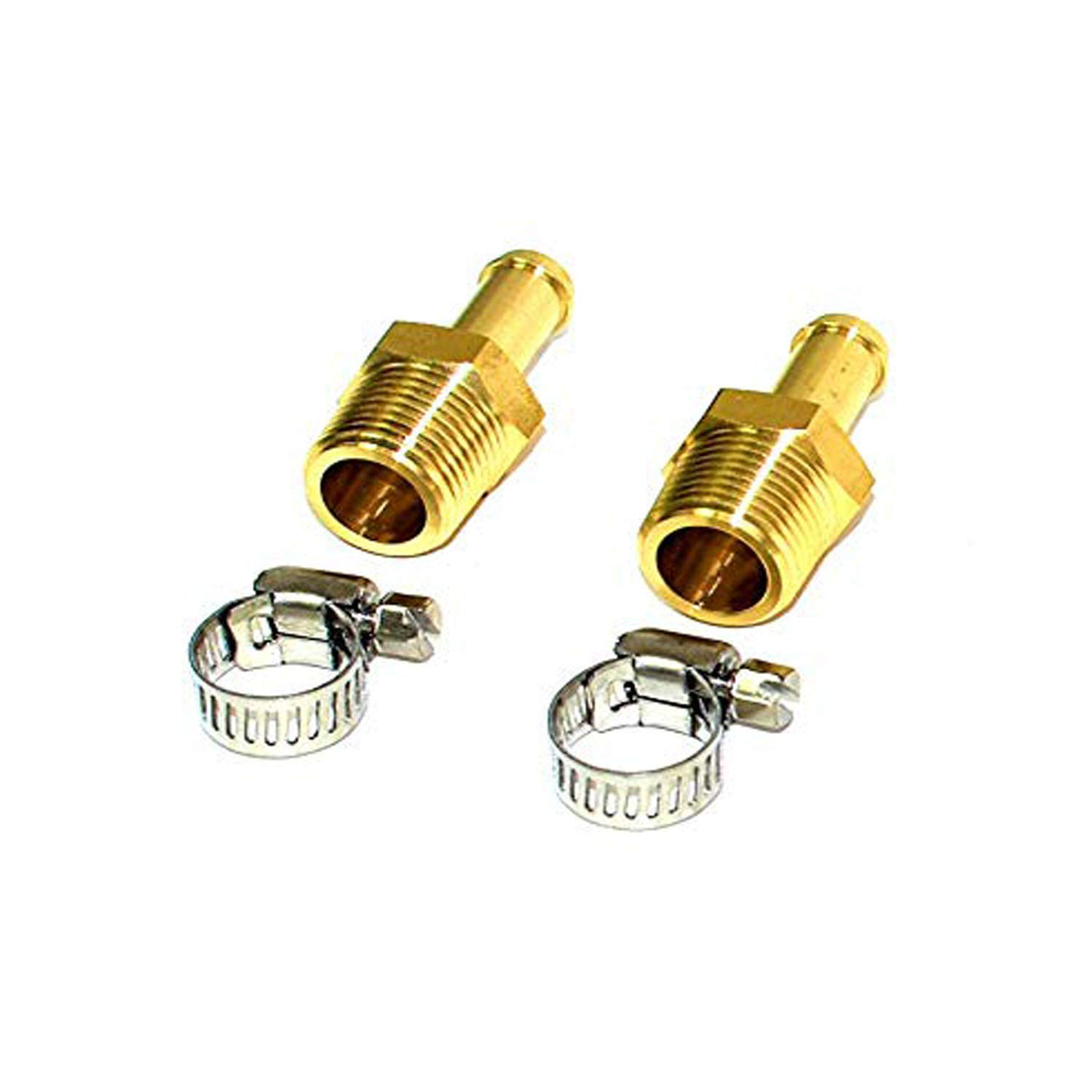 A-Team Performance 3//8-Inch National Pipe Thread Brass with 2 Hose Clamps Fittings /— NPT For Fuel Pumps and Regulators