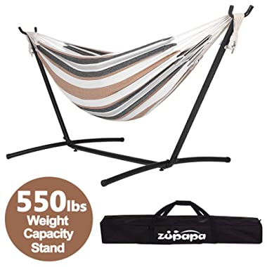 Zupapa Hammock and Stand Set, Heavy Duty Portable Combo for Indoor Bedroom Outdoor 10ft Double Hammock Stand 2 Person Frame 550LBS Capacity - Storage Bag Included