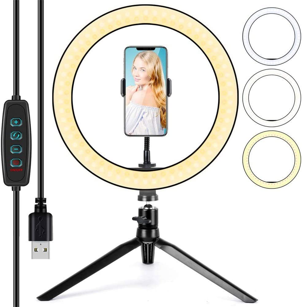 Selfie Ring Light 2 in 1 Cellphone Holder 3-Light Mode//10 Brightness Level LED Camera Lighting Live Stream//Photography 10 Ring Light with Tripod Stand for YouTube Video and Makeup