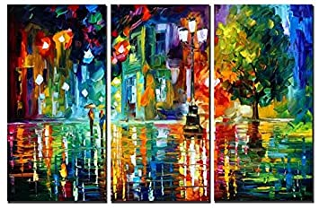 Amoy Art Raining Street at Night Modern Canvas Abstrat Painting Print Wall Art for Home Decorations Wall D cor with Wooden frame Ready to Hang Set of 3 24x48inx3pcs