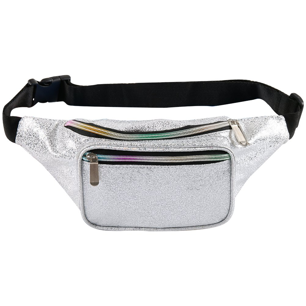 Fotociti Holographic Fanny Pack- Fashion Rave Waist Bag with Adjustable Belt for Women and Men (Gravel Silver) by Fotociti