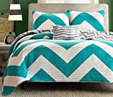 Divano Roma 4 Piece Zig Zag Reversible Chevron Bedspread Coverlet with Matching Shams and Cushion Pillow, Queen, Teal / Grey