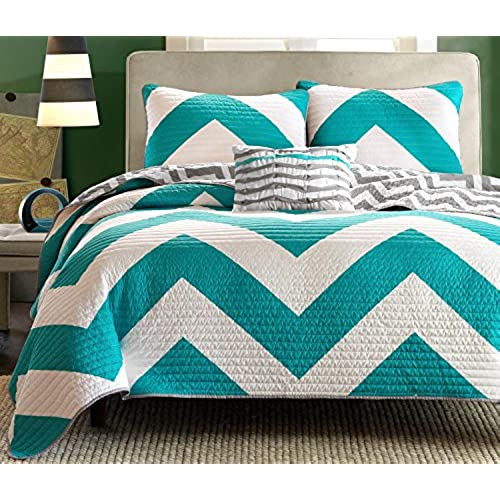 divano roma 4 piece zig zag reversible chevron bedspread coverlet with matching shams and cushion pillow queen teal grey - Turquoise Bedding