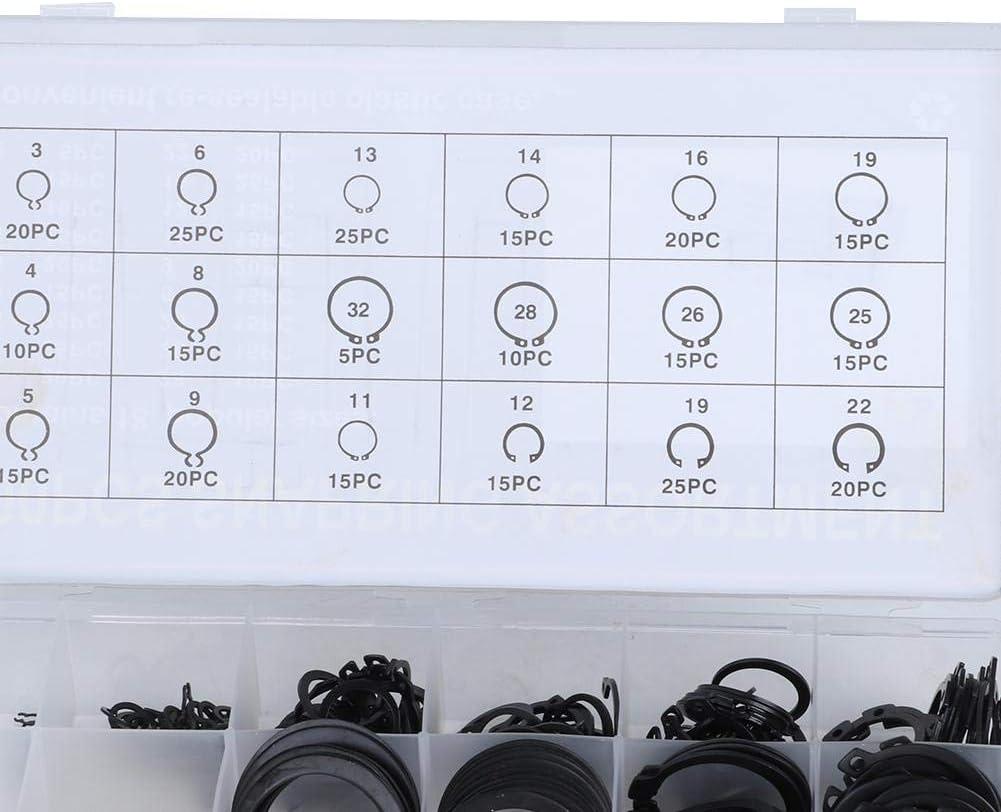Diydeg 2-32mm E-Clip Snap Circlip Kit Snap Ring Kit Retaining Ring Kit Pulleys for Retention of Bearings