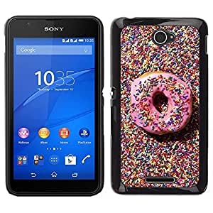 For Sony Xperia E4 , S-type® Candy Pink Sweet Pastry Homer - Arte & diseño plástico duro Fundas Cover Cubre Hard Case Cover