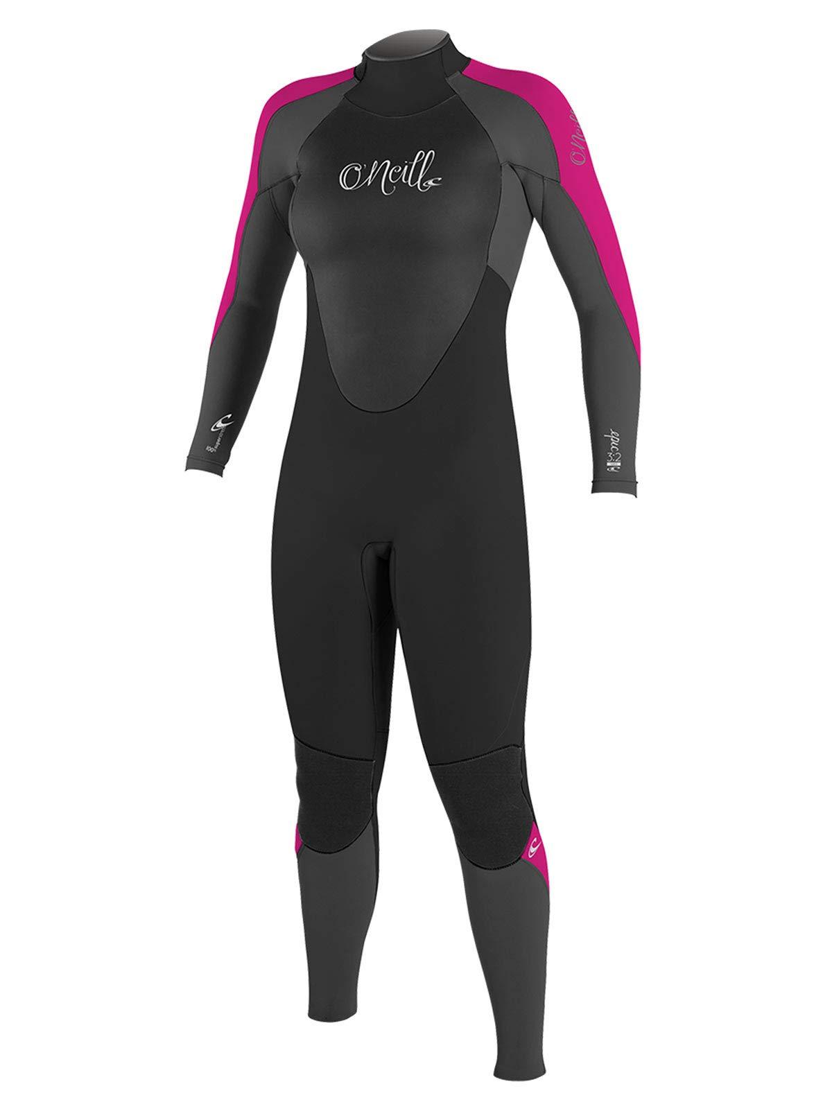 O'Neill Women's Epic 4/3mm Back Zip Full Wetsuit, Black/Graphite/Berry, 4