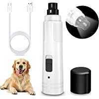 Pet Dog Nail Grinder with LED Light, Upgraded 2 Speed Dog Nail Trimmer, Rimposky Ultra Quiet Rechargeable Painless Pet…