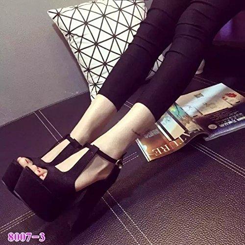 noche de zapatos Black ahuecado XiaoGao pierna Moda altos sandalias tienda despues de con super 14 cm de cremallera tacos aq4OfB