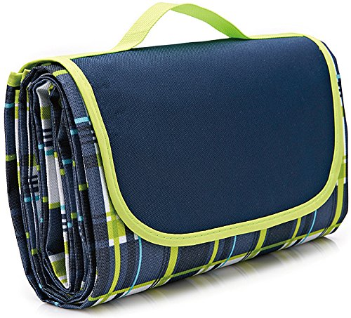 Fleece Picnic Stadium Blanket - NaturalRays 80x60 Family Picnic Blanket with Tote, Extra Large Foldable and Waterproof Camping Mat for Outdoor Beach Hiking Grass Travel