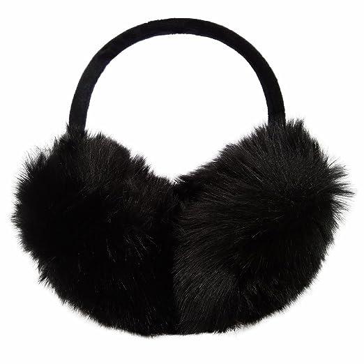 97b376c132 LETHMIK Women s Faux Fur Foldable Big Earmuffs Winter Outdoor Ear Warmers  Black
