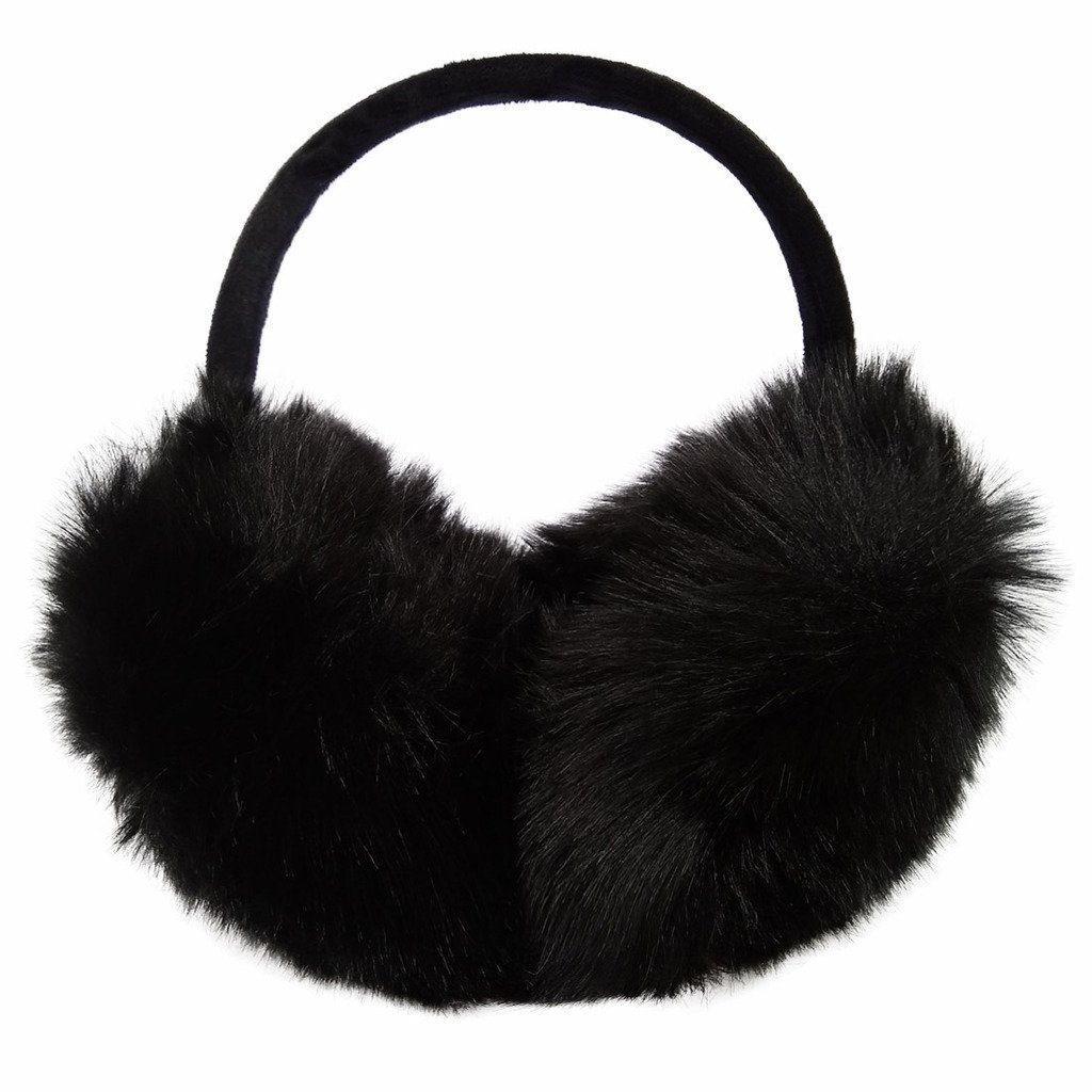 LETHMIK Women's Faux Fur Foldable Big Earmuffs Winter Outdoor Ear Warmers Black