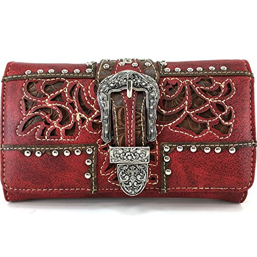 Justin West Laser Cut Rhinestone Silver Buckle Studded Cross Shape Design Wristlet Trifold Wallet Attachable Long Strap - Red Justin