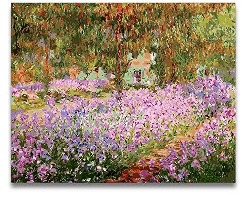 Pintura Por Numeros Jardin De Monet Cuadros Por Numeros Con Colores Pintura Pintada A Mano Enmarcada Para Decoracion De Sala De Estar 40X50Cm